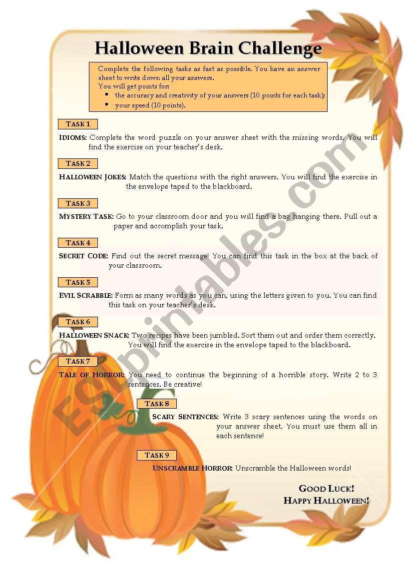 Halloween Brain Challenge worksheet