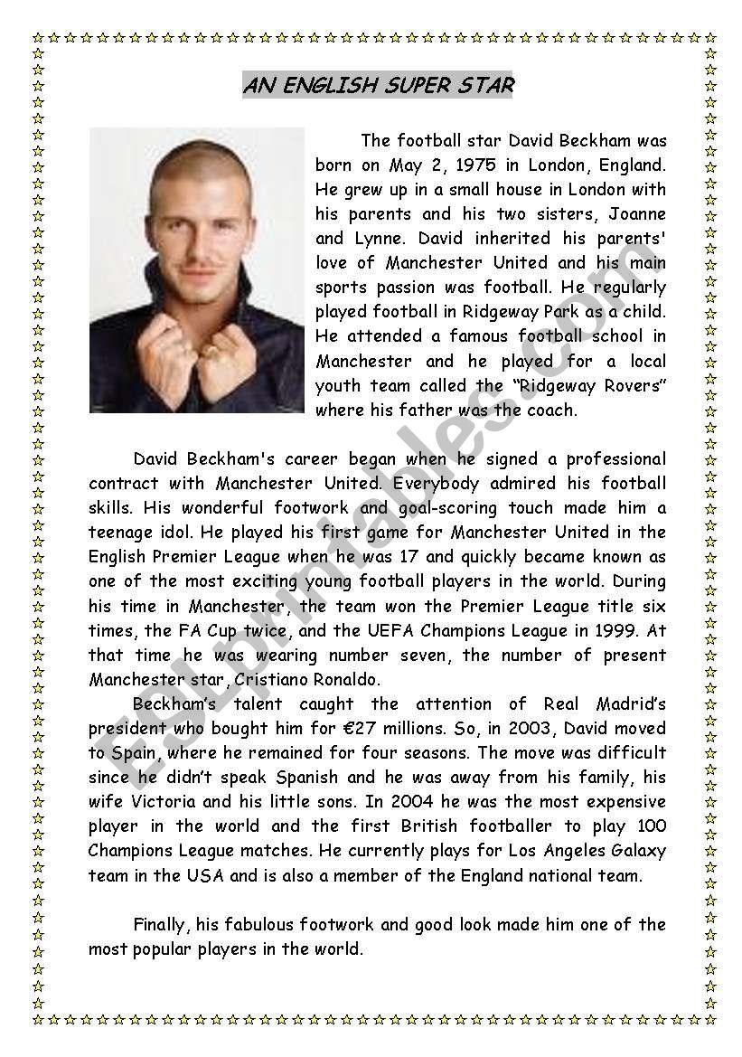 David Beckham: an English super star (reading comprehension)
