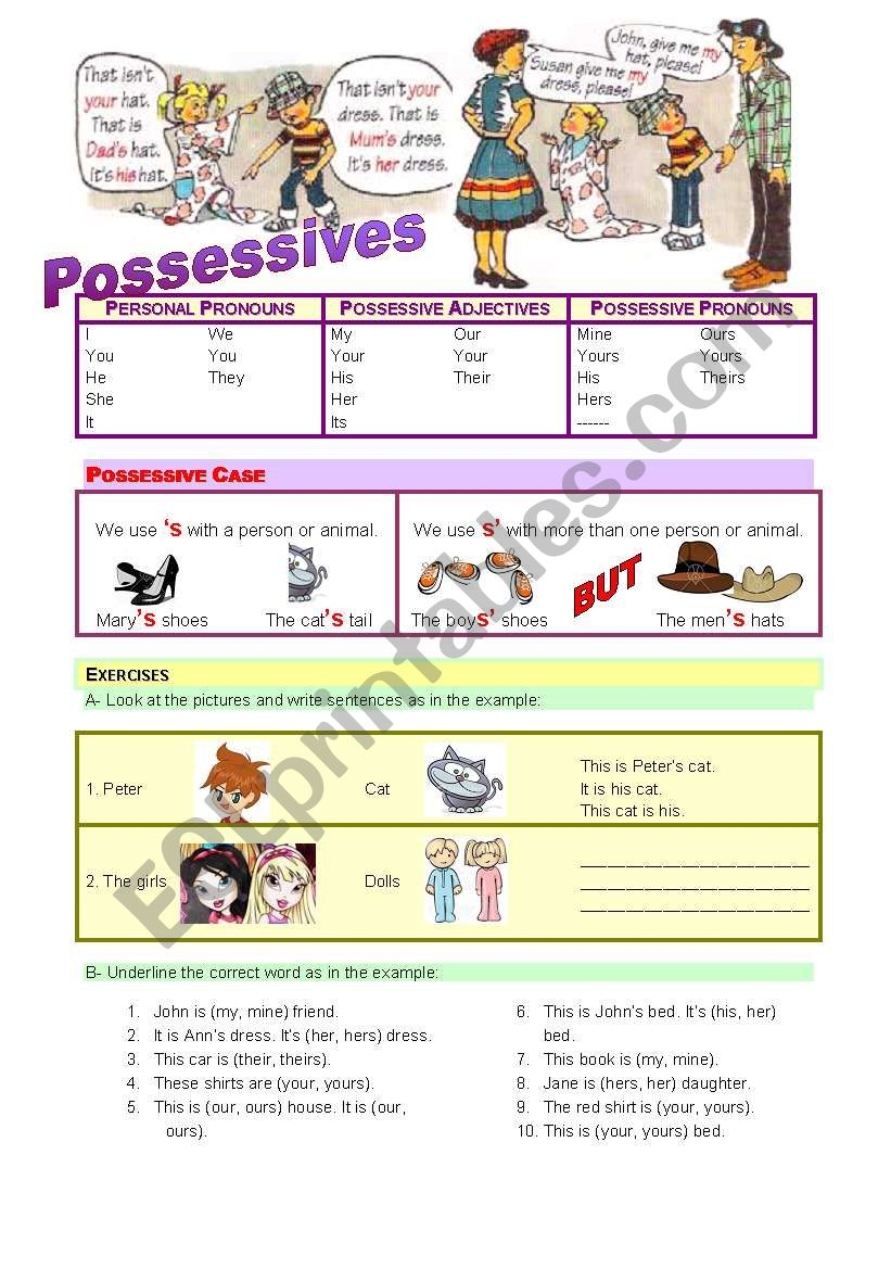 Possessives - rules and exercises