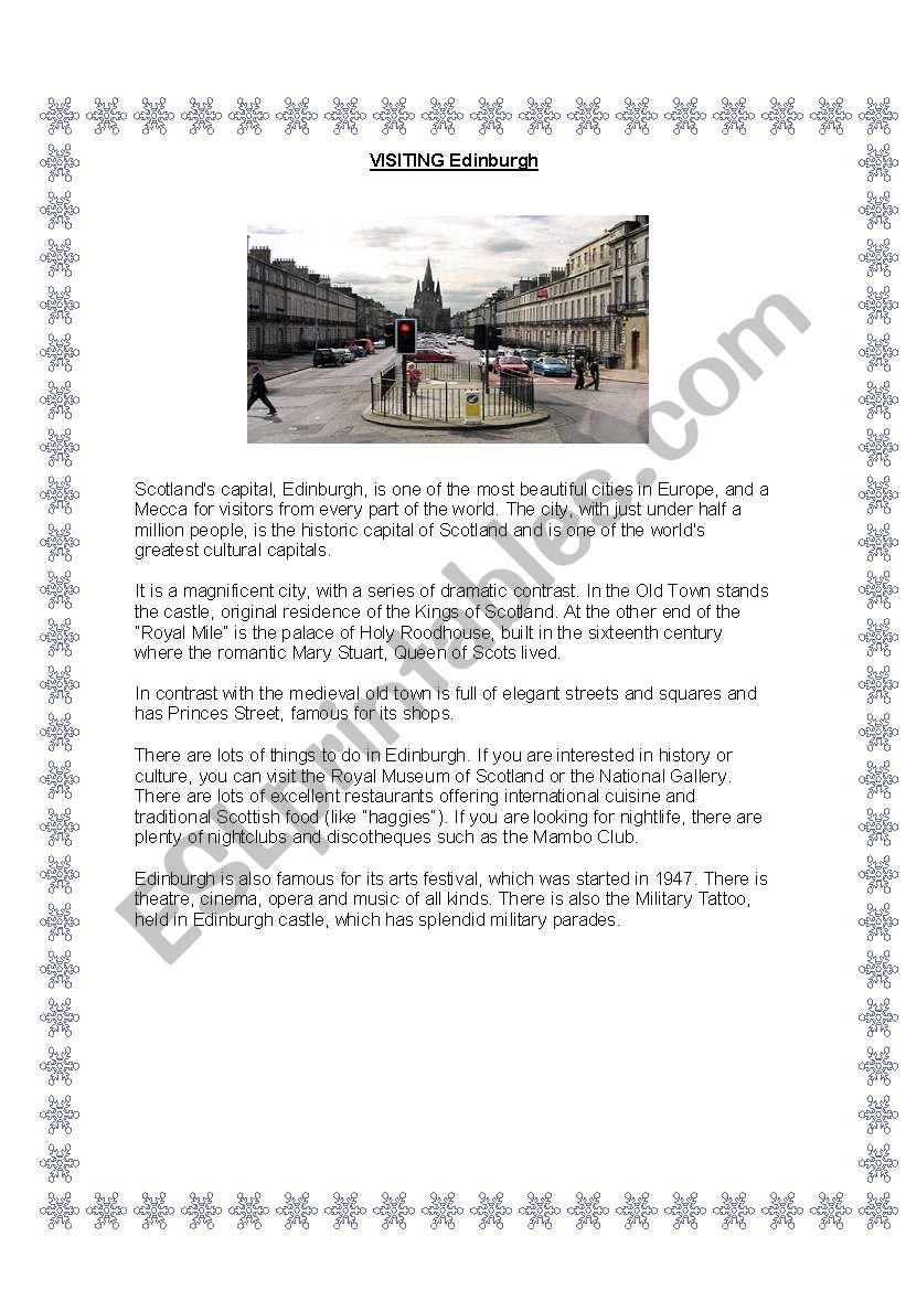 Visiting Edinburgh worksheet