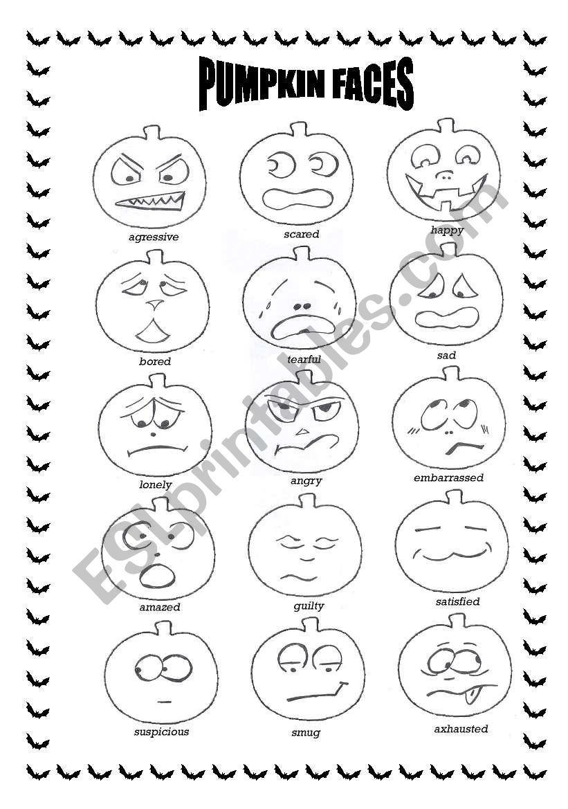 photo relating to Pumpkin Faces Printable referred to as Halloween pumpkin faces - ESL worksheet through SpringFlower