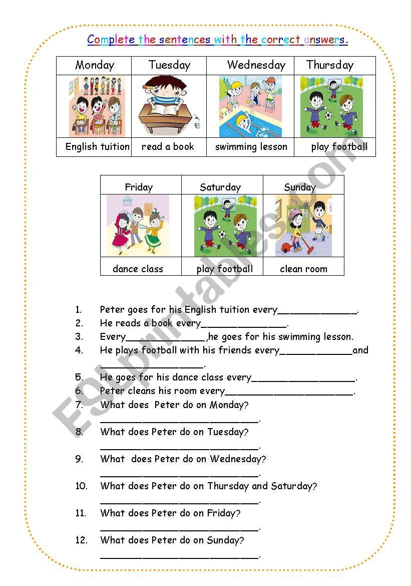 The day of the week. worksheet