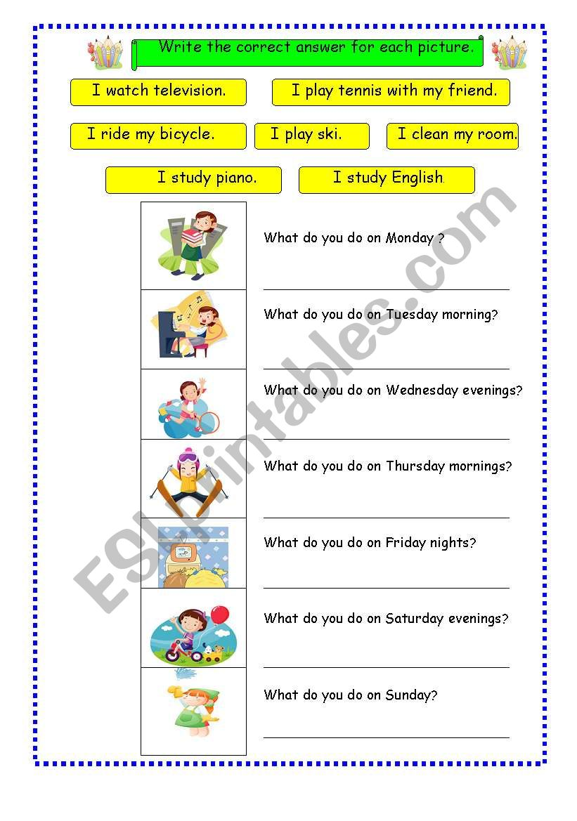 Day of the week 2 worksheet