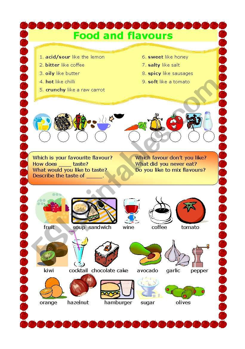 FOOD AND FLAVOURS worksheet