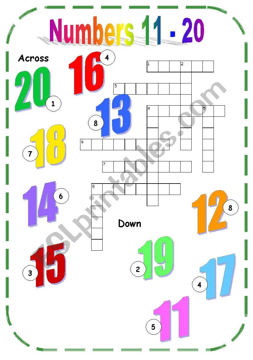 Numbers 11 20 Esl Worksheet By Becia