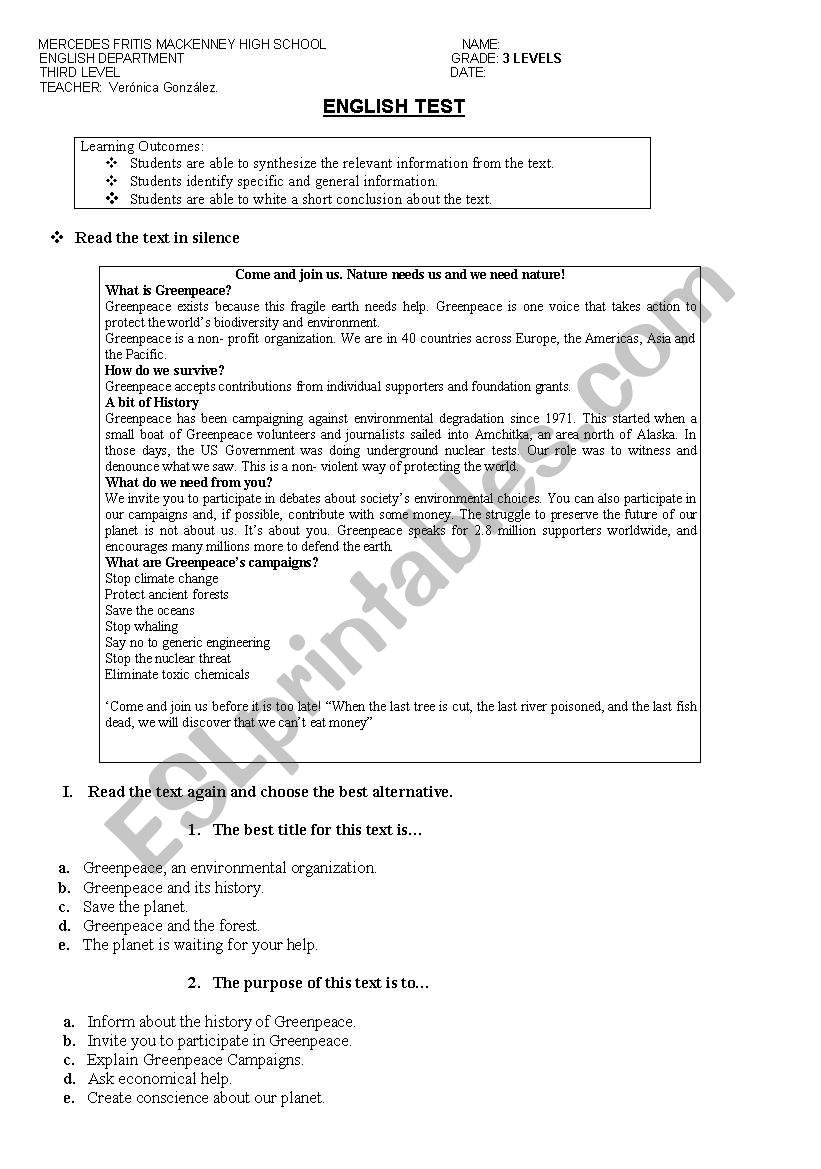 Greenpeace worksheet