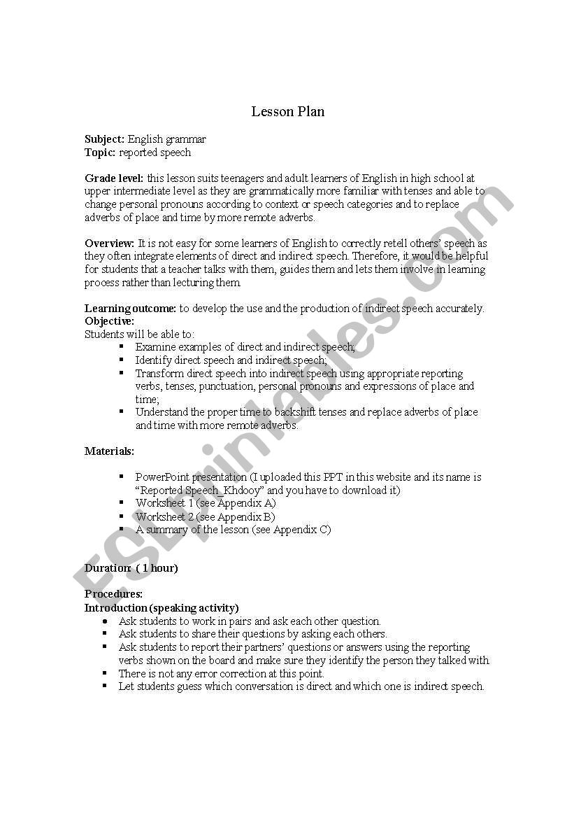 Esl Worksheet
