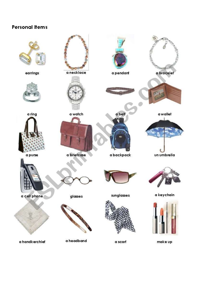 personal items worksheets clothes vocabulary english worksheet esl preview eslprintables