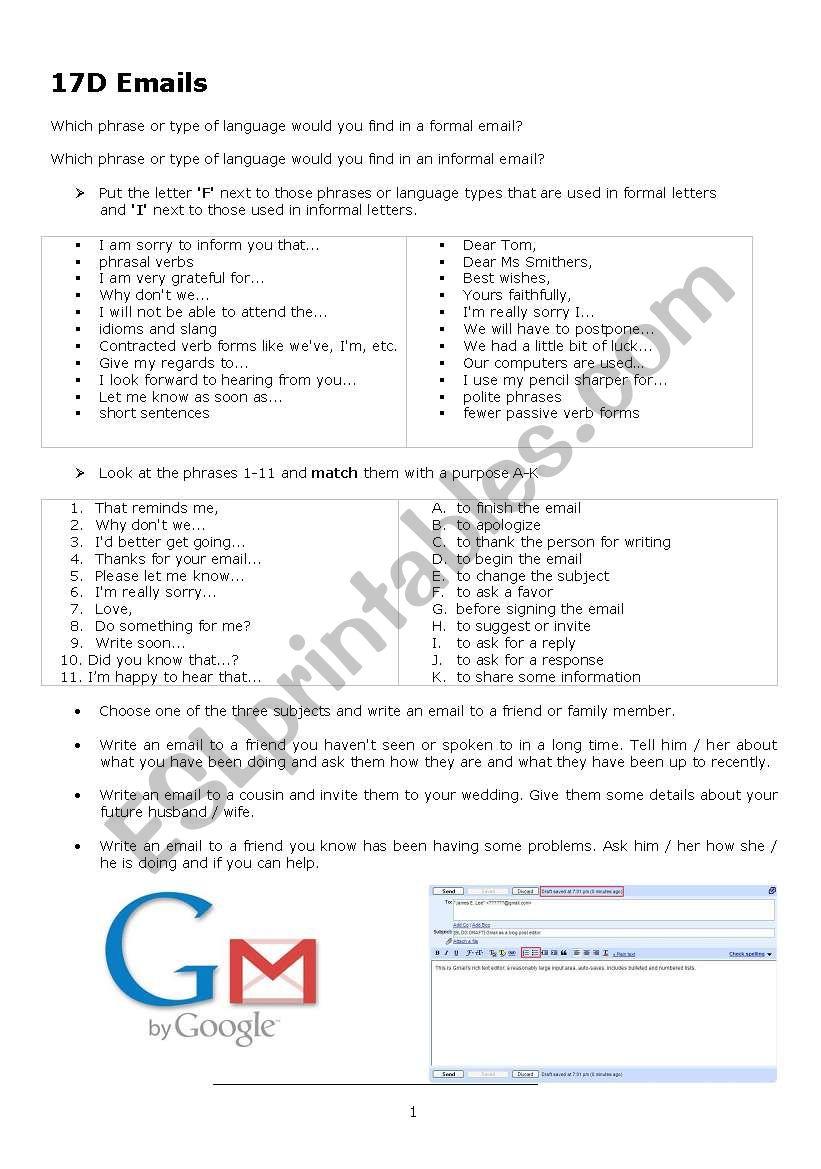 Formal, Informal emails worksheet