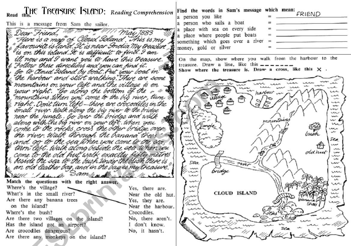 The Treasure Island: Reading Comprehension - ESL worksheet by jcuni