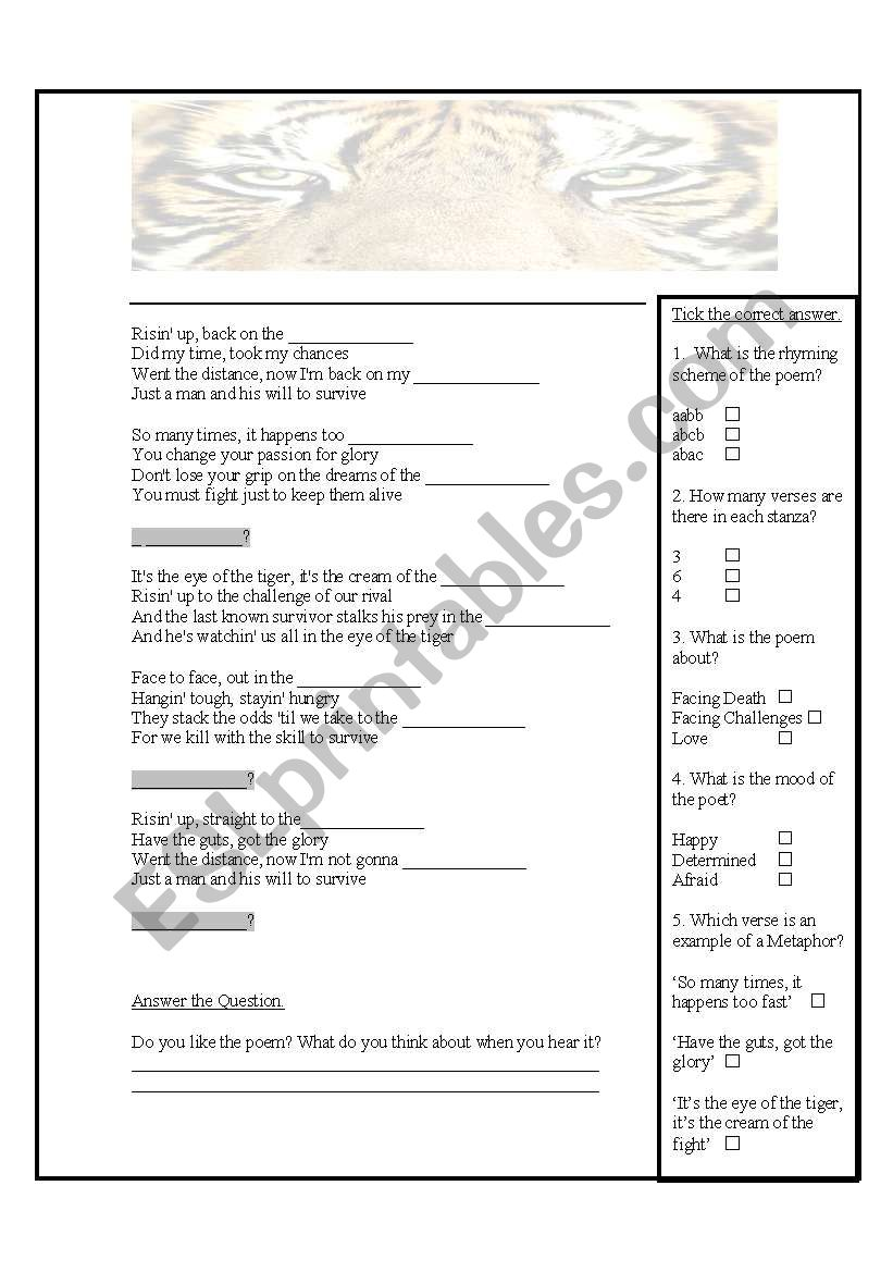Eye of the tiger worksheet