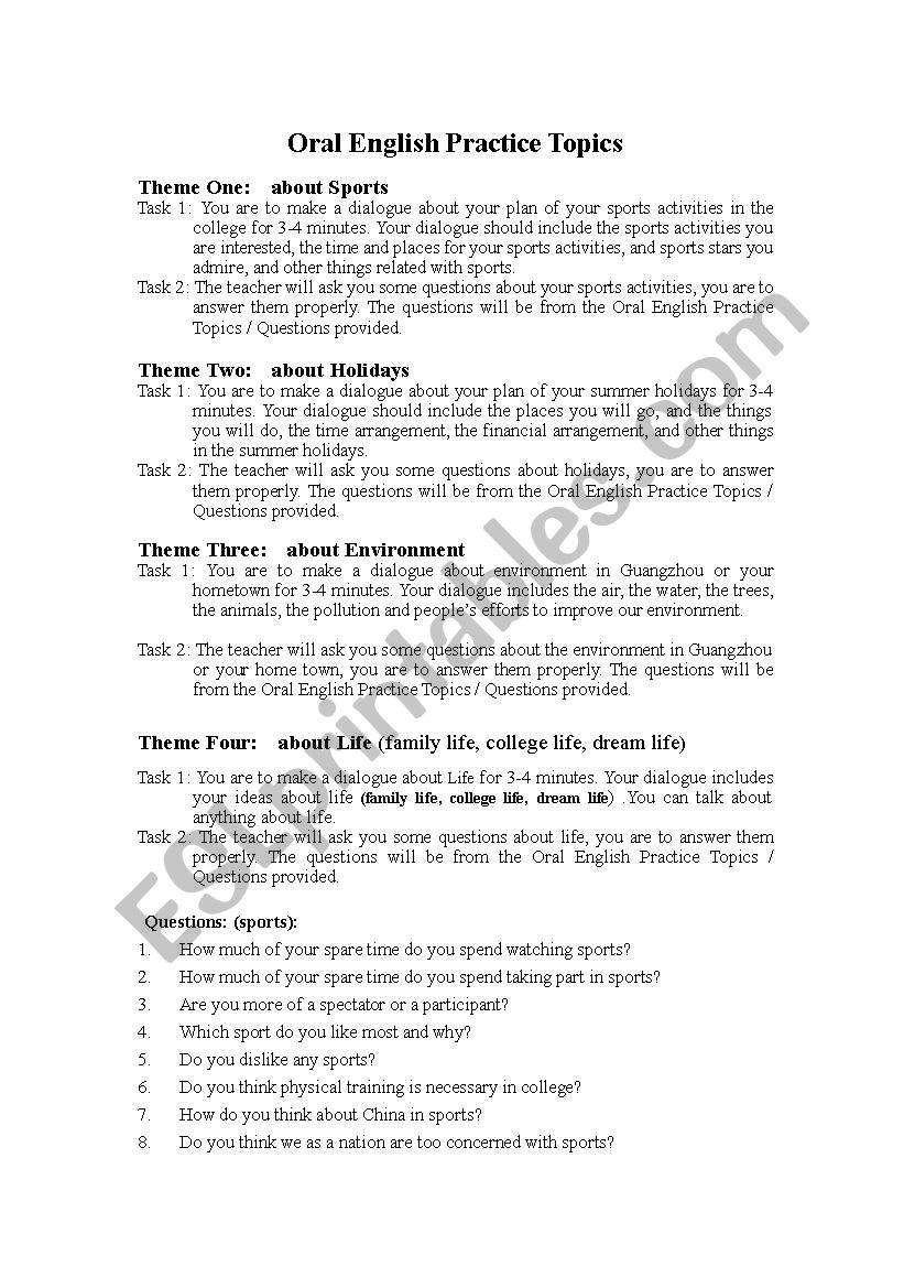 Oral english practice worksheet