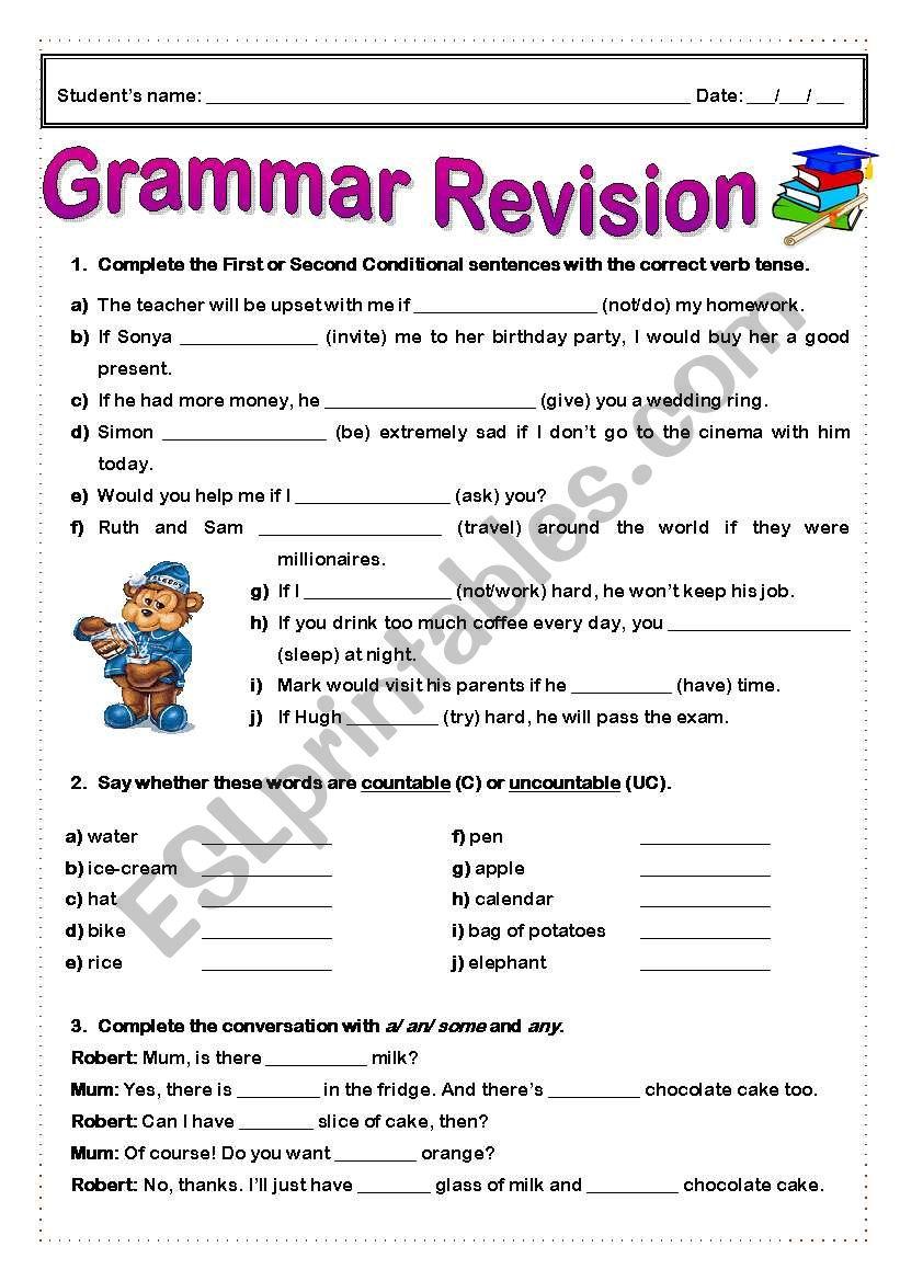 Grammar Revision worksheet