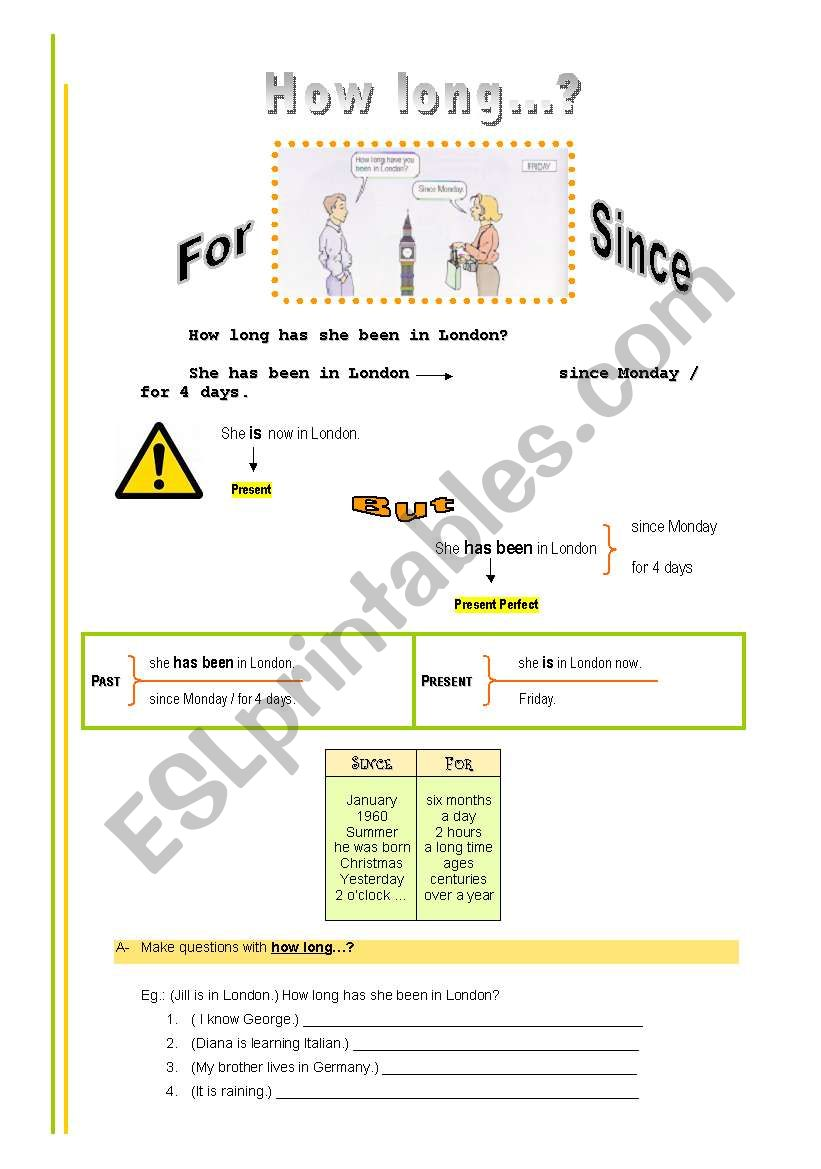 How long...? (for and since) worksheet