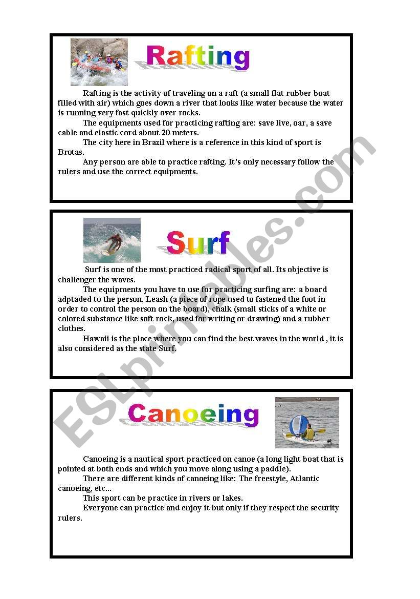 Water Radical sports: Reading worksheet