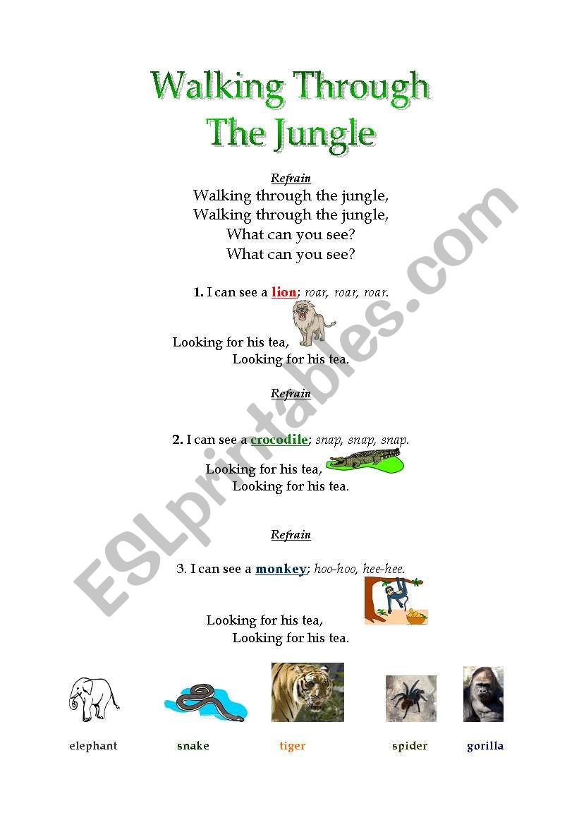 Walking Through the Jungle Song - ESL worksheet by ...
