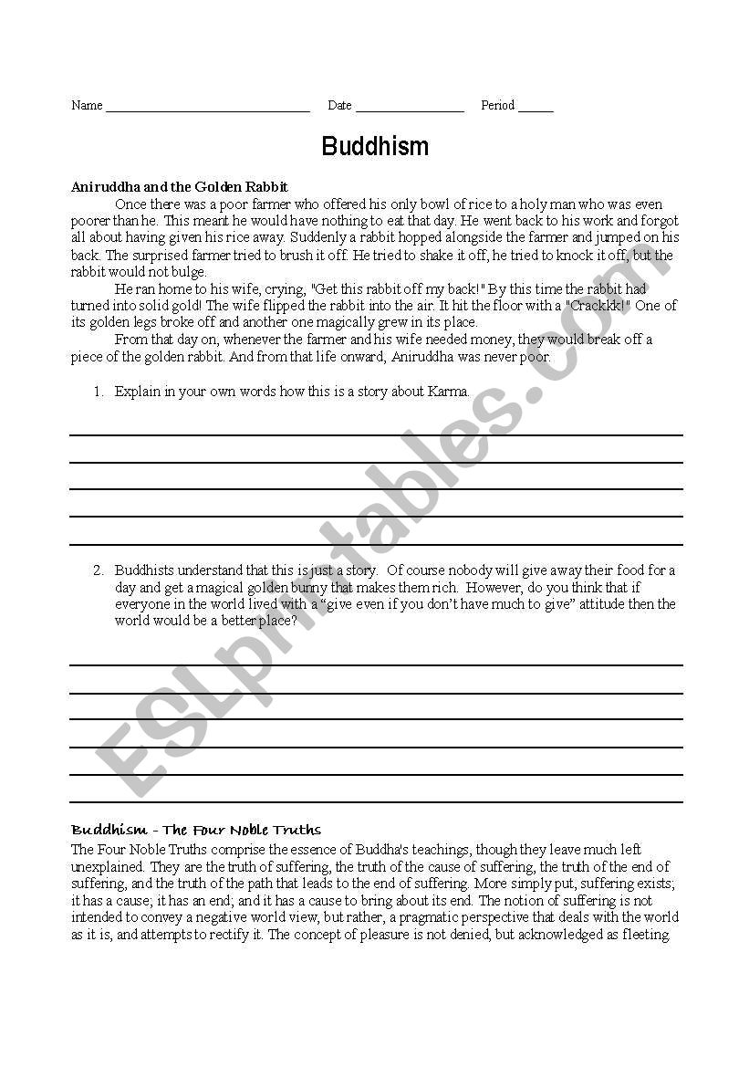 English Worksheets Buddhism Story And The Four Noble Truths