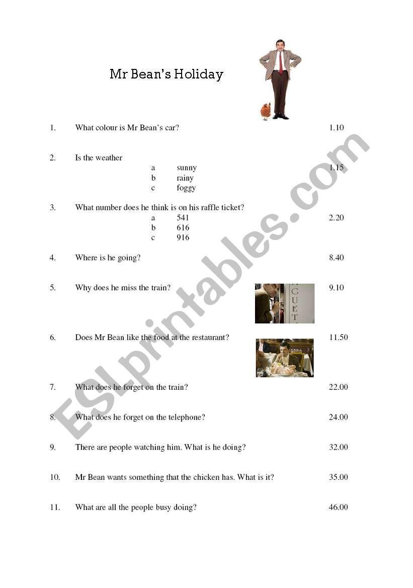 Mr Bean´s Holiday worksheet