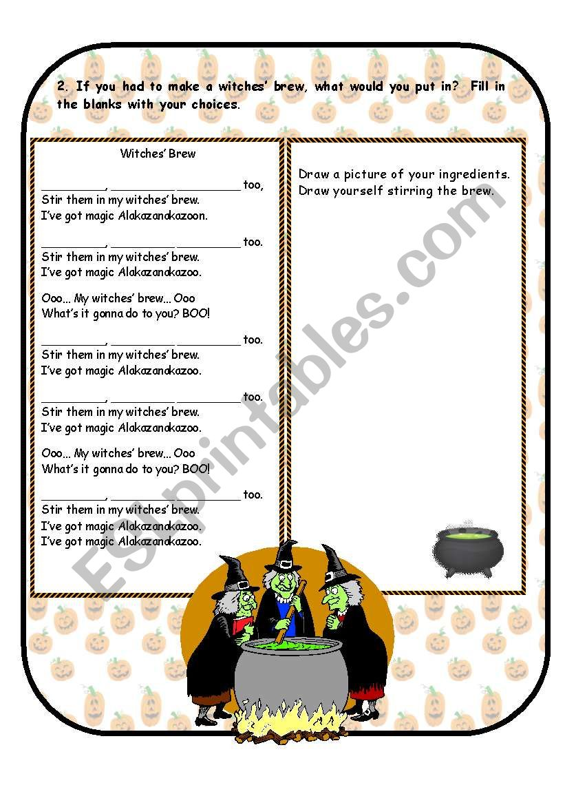 Witches´ Brew - ESL worksheet by Anna P