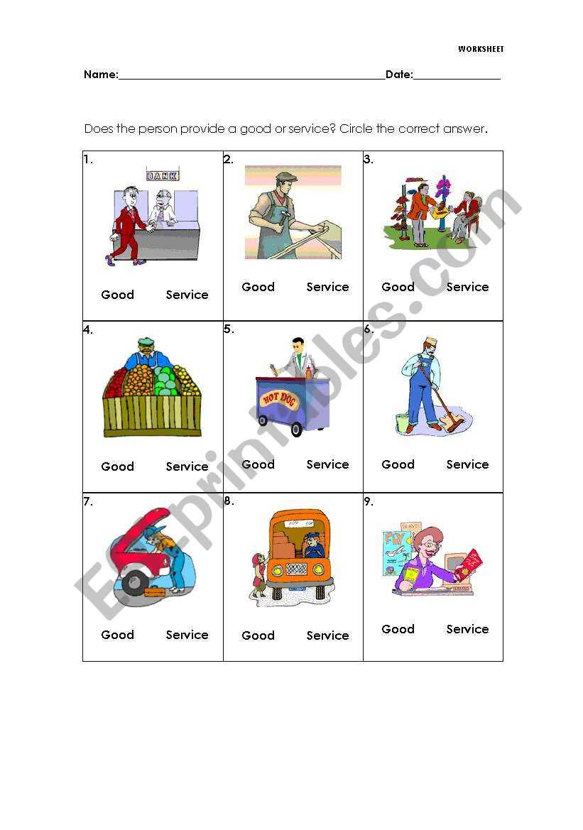 Goods And Services Esl Worksheet By Melaniecb
