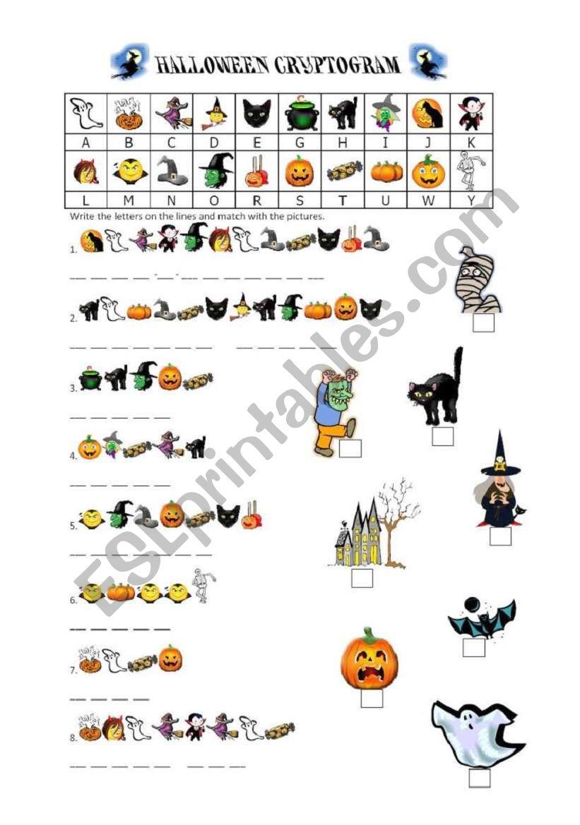 Halloween Cryptogram worksheet