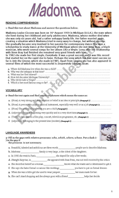 Madonna -  worksheet worksheet