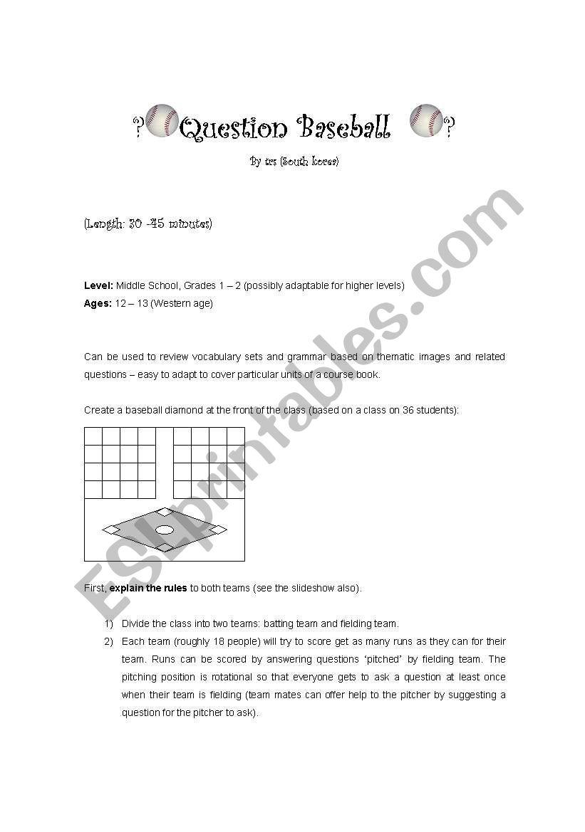 Question Baseball worksheet