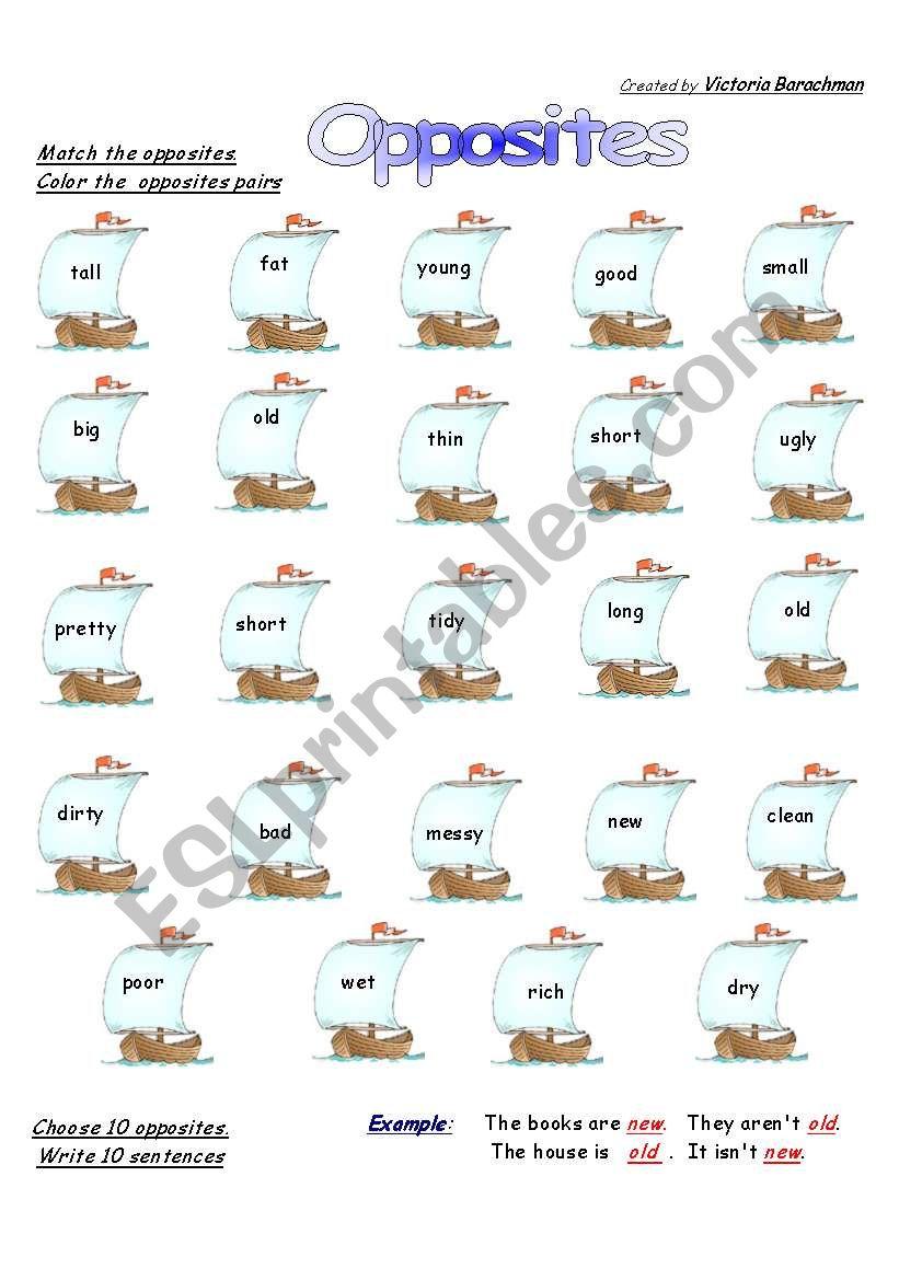 Opposites Boats worksheet