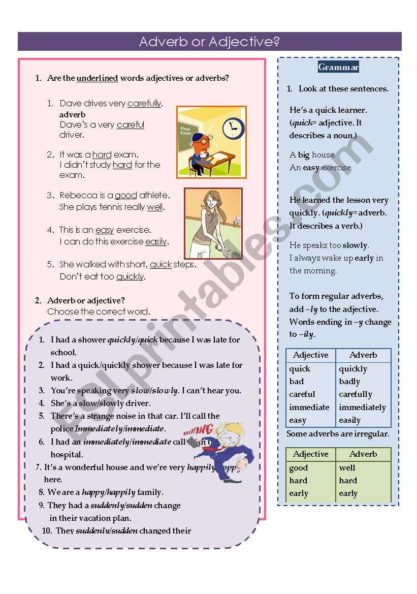 Adverb or Adjective worksheet