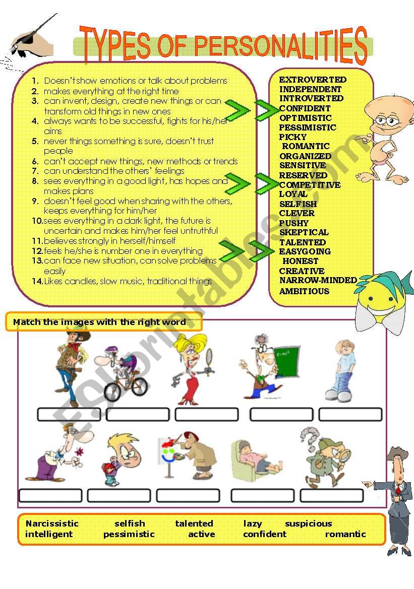 Types of personalities  worksheet