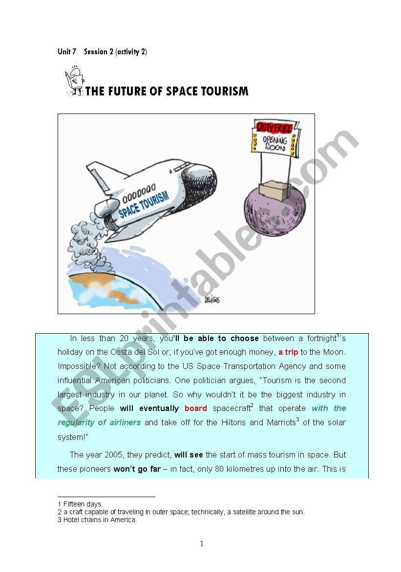 Space Tourism worksheet