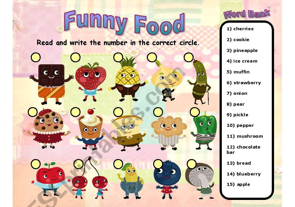 Funny Food - - simple labeling exercise