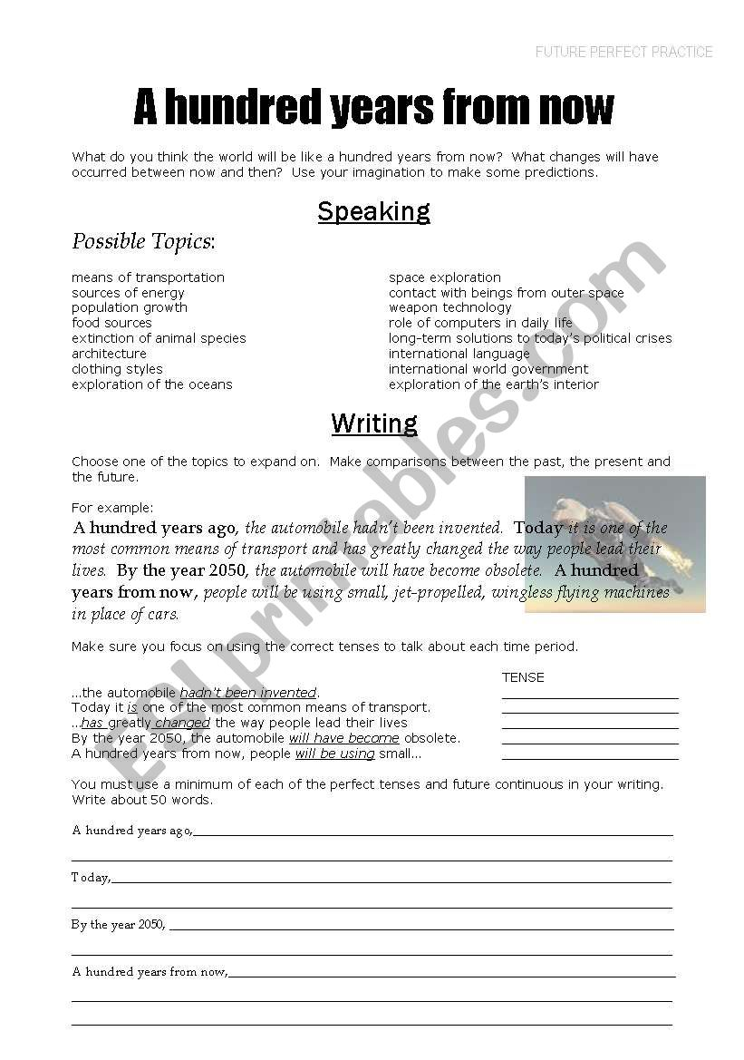 A hundred years from now worksheet