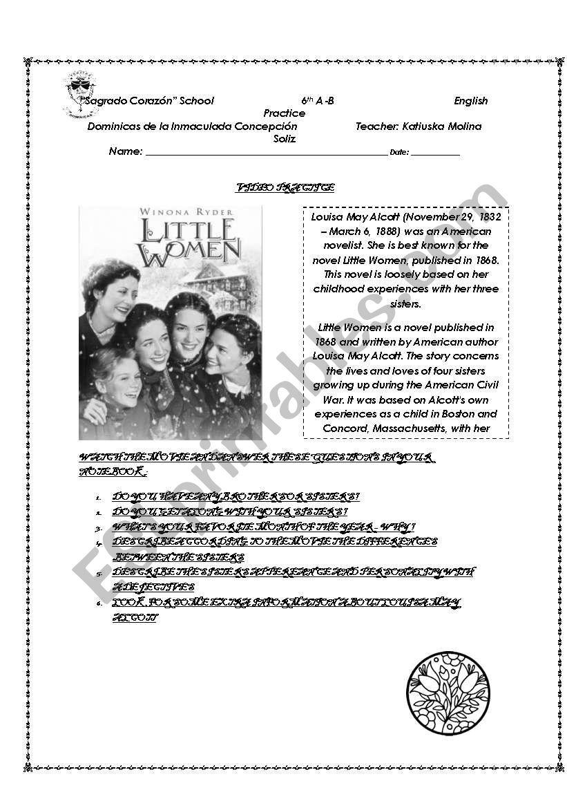 Video Practice little women worksheet