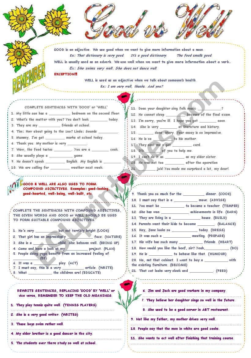 worksheet Well Vs Good Worksheet english worksheets good vs well worksheet