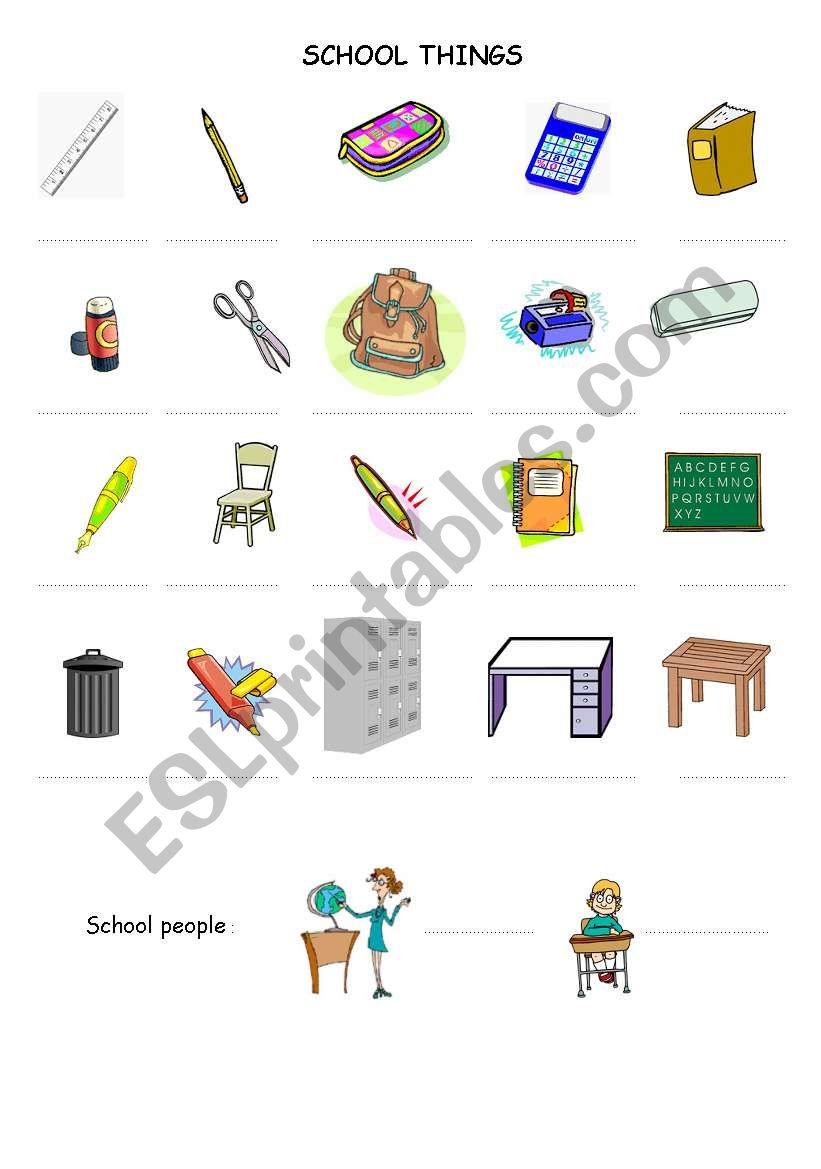 school things esl worksheet by zazaesl. Black Bedroom Furniture Sets. Home Design Ideas