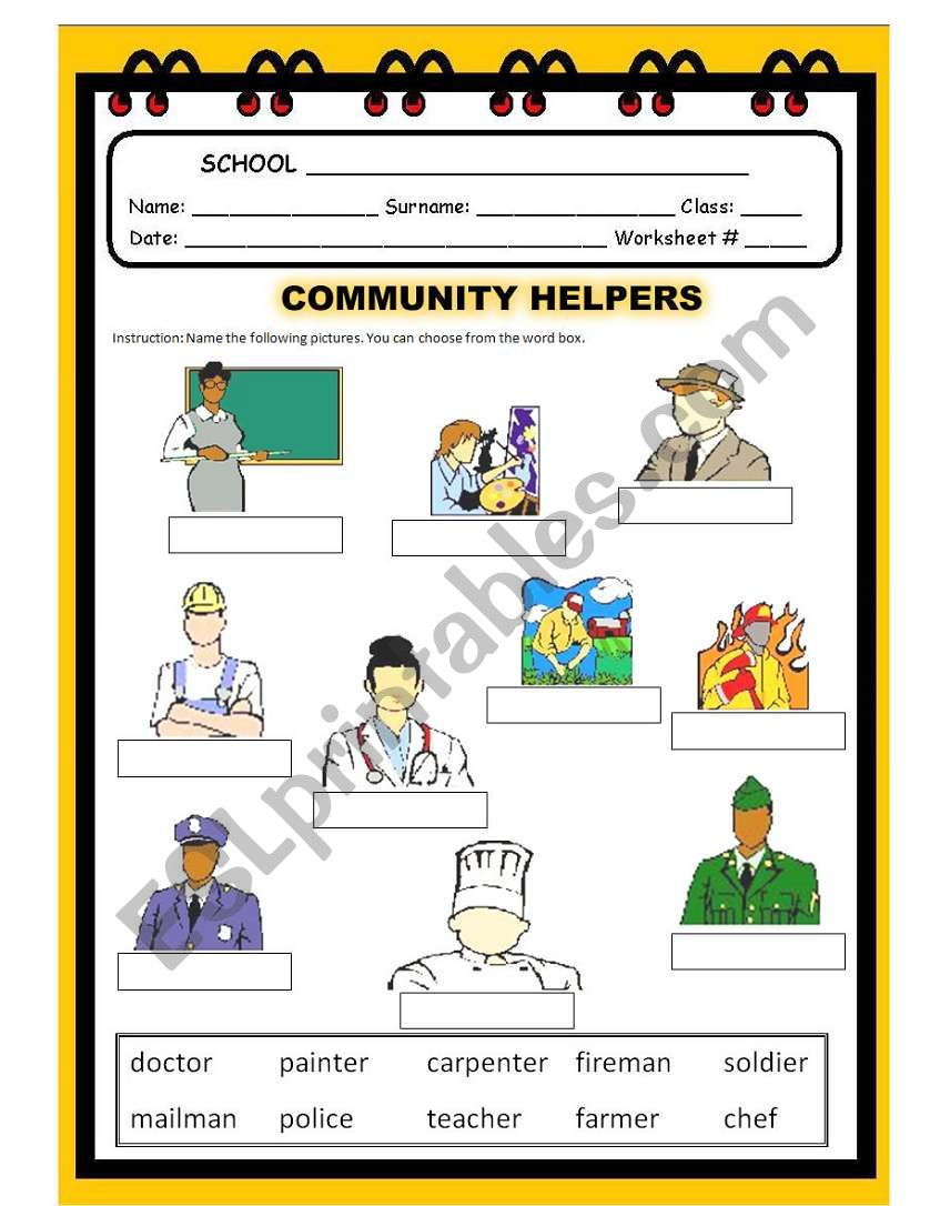 Community Helpers Act1 Esl Worksheet By Malyn