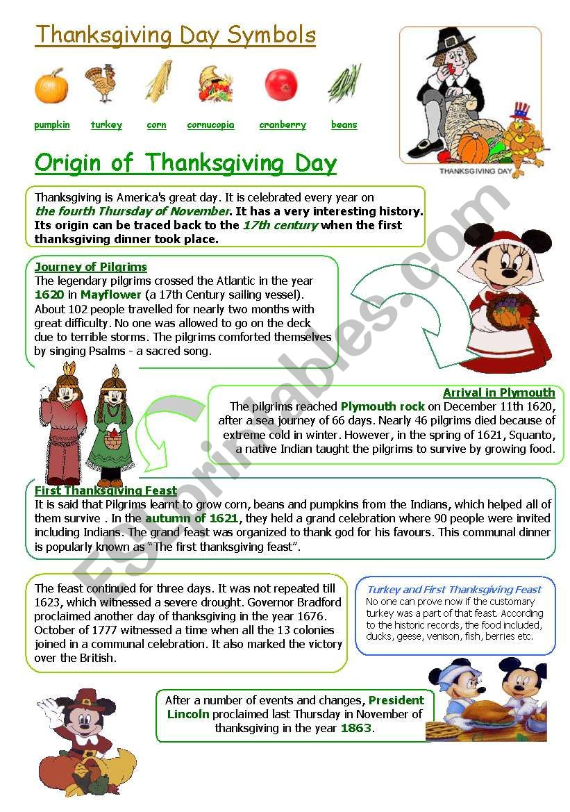 THANKSGIVING DAY worksheet