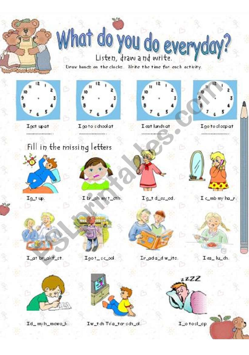 English Worksheets: What Do You Do Everyday?