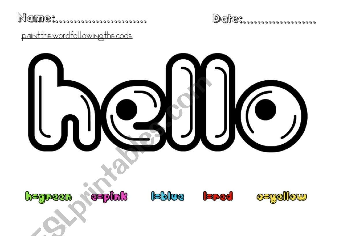 Hello colors! worksheet