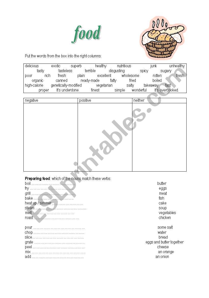 food  verbs and adjectives worksheet