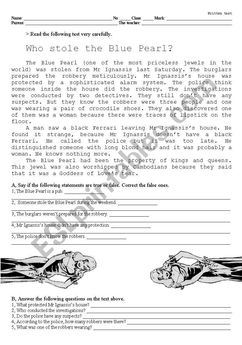 The Robbery By Violet Viola Part 1 Esl Worksheet By Pecable