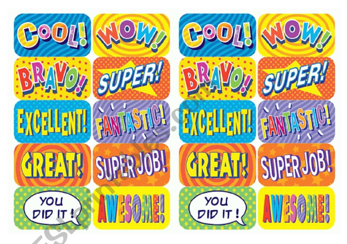 coOL stickers worksheet