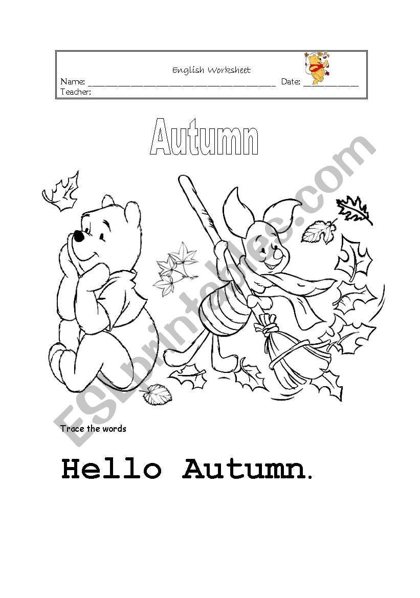 Autumn colouring worksheet
