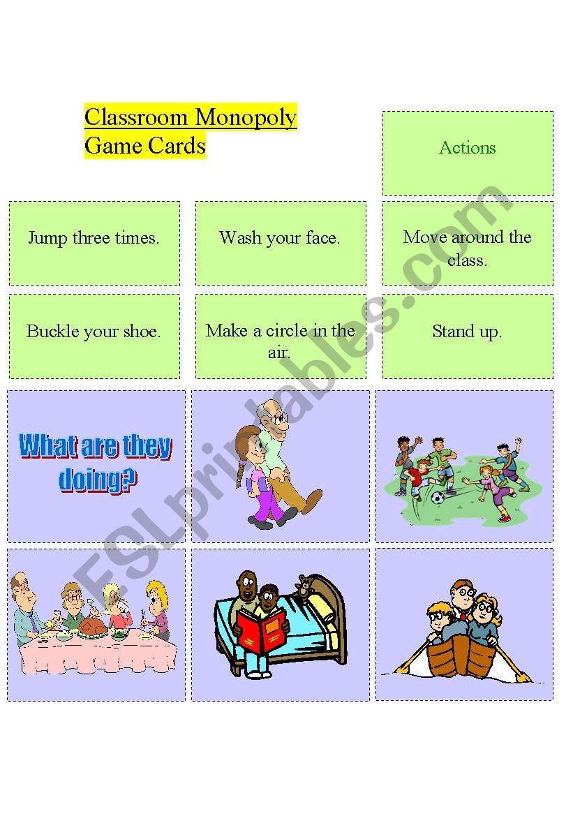 Classroom Monopoly - set 2 worksheet