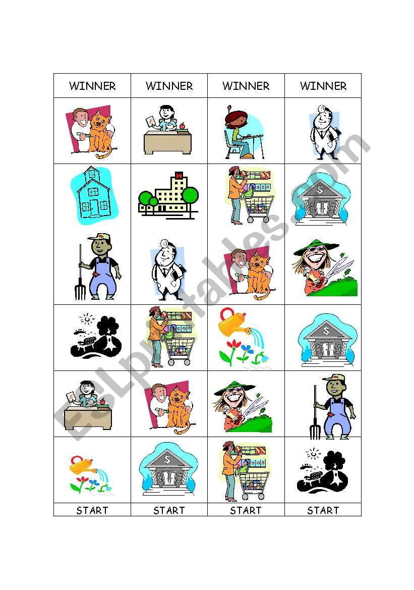 JOBS AND PLACES BOARD GAME ESL worksheet by Ninha2