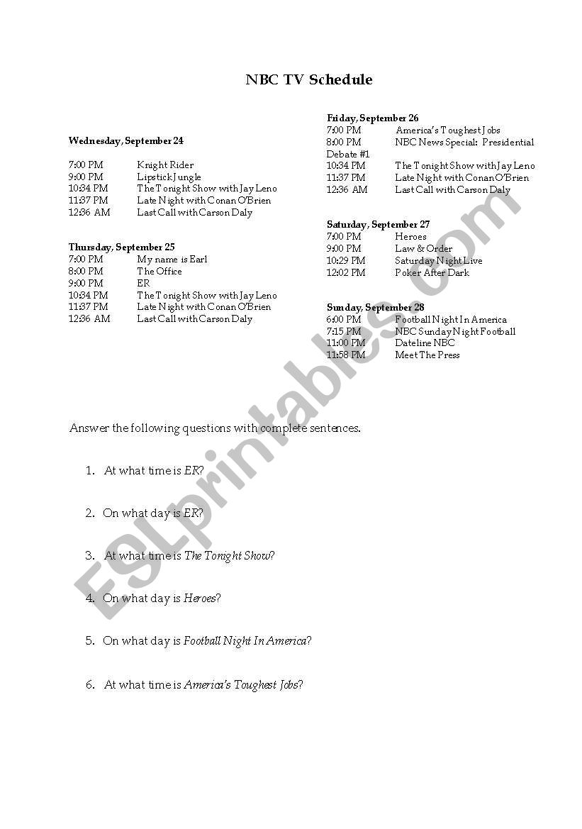 English Worksheets Nbc Tv Schedule