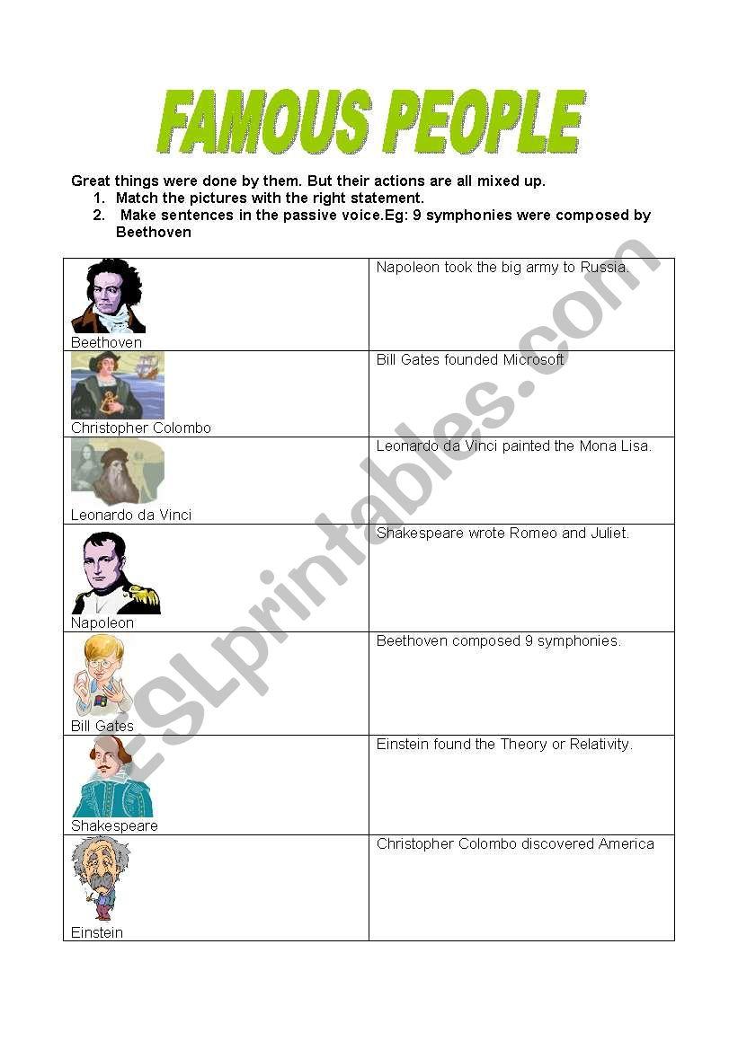 FAMOUS PEOPLE worksheet