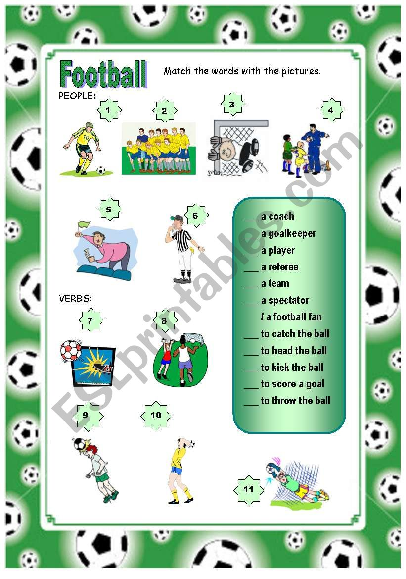 Football vocabulary Part 1 worksheet