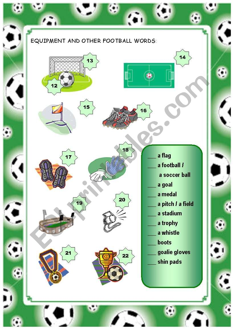Football vocabulary Part 2 worksheet